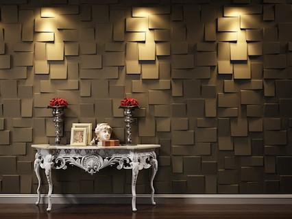 size: 50cm x 50cm x 3mm Paintable, Durable, Decorative, Non-flammable 3D Wall Panel, not affected water proof