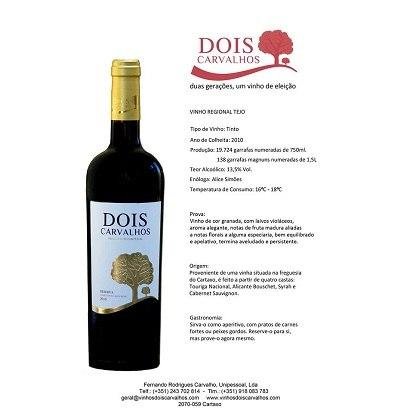 Ficha tecnica do Vinho tinto Dois Carvalhos