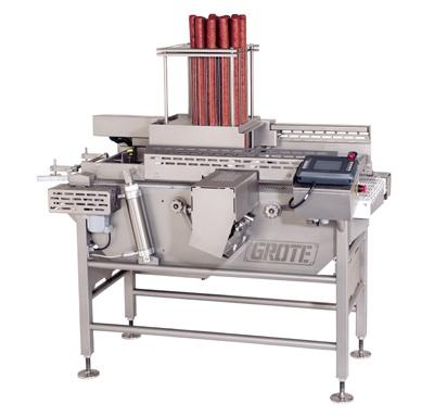 The Grote Electric Peppamatic allows frozen pizza producers to slice & apply pepperoni directly onto moving pizza & French bread crusts in predetermined patterns.
