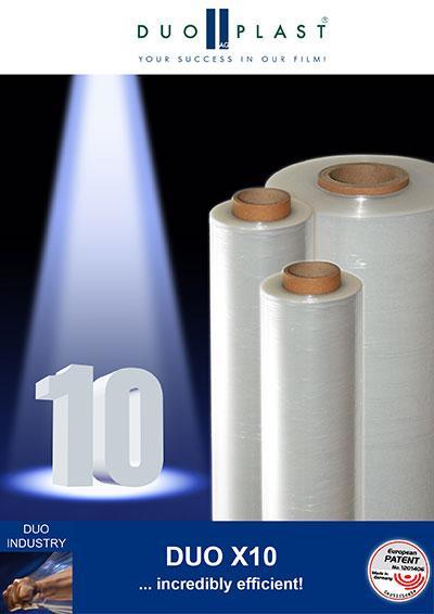 DUO X10, die einzigartige extrudierte Blasfolie 10 µm, ermöglicht enorme Materialeinsparungen und reduziert Ihren Verpackungsaufwand auf ein Minimum! http://www.duoplast.ag/duo-x10