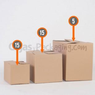 Compuesto por 35 Cajas de Cartón:5 Cajas de cartón de canal doble 600x300x400 mm. 15 Cajas de cartón de canal simple 400x300x300 mm. 15 Cajas de cartón de canal simple 300x200x200 mm.
