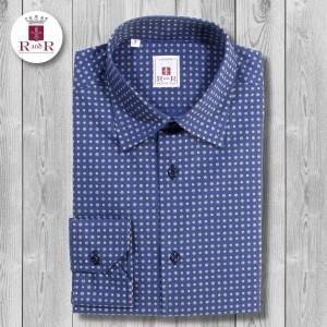 Camicia blu petrolio con fantasia grigio chiaro, colletto classico italiano, asole e bottoni blu scuro. 100% cotone