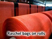 Raschel bags on rolls
