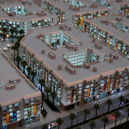 """Maquette architecturale à l'échelle 1:100 réalisée en 2012 pour le projet """"Cité des arts"""" à Casablanca Maroc pour ONAPAR SNI"""