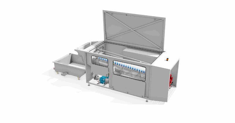 Rotationssieb für die kontinuierliche Abtrennung der störenden Grobstoffe aus flüssigen Abfällen, die zur Aufbereitung in einer chemisch-physikalischen Behandlungsanlage (CPA) angeliefert werden.