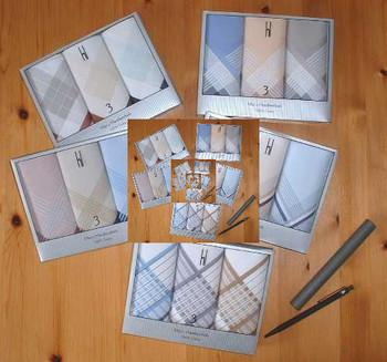 Handkerchiefs in gift box or individually. Handkerchiefs for men, women and children. Materials: 100% Cotton