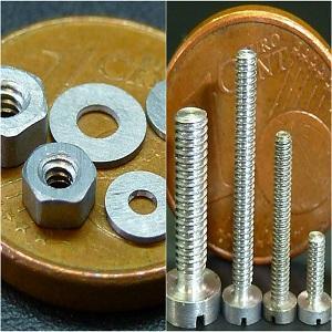 Schrauben, Unterlegscheiben und Muttern mit kleinen Abmessungen aus Tantal, Molybdän und anderen Sondermetalle