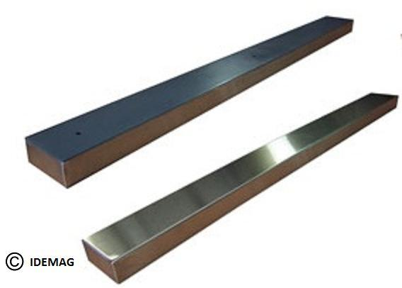 powerful permanent magnets to keep the ferrous parts such as steel containers, cans, caps, twist-off caps firmly in place during transportation. The magnetic rail is installed as a stationary compon.