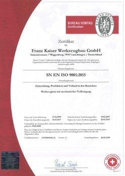 Werkzeugbau Zertifikat