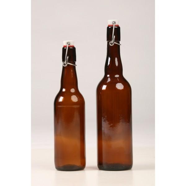 Flip-top 500 ml and 750 ml beer bottles