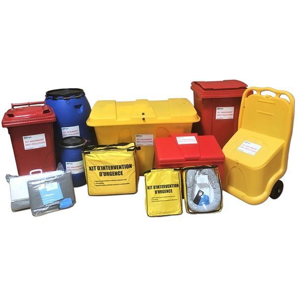 Kits absorbants pour hydrocarbures - Capacités d'absorption de 10 à 1000 L.