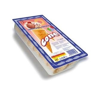 Coni per gelato confezionati in blister da asporto. Linea supermercati e discount.
