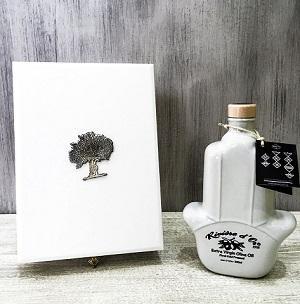 """Coffret """"Khomsa"""" Huile d'Olive Vierge Extra: Bouteille céramique 500ml + coffret."""
