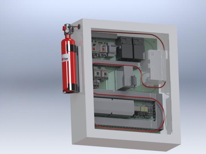Sistema autónomo de detección y extinción de incendios ideal para pequeños volúmenes, p.ej Armarios eléctricos, racks de servers y  maquinas de control numerico