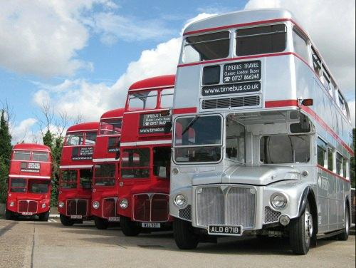 Silver Routemaster and various others behind