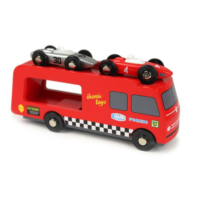 Wooden toy racing car transporter with unfoldable tailgate and top deck. Including two 1950's racing cars.