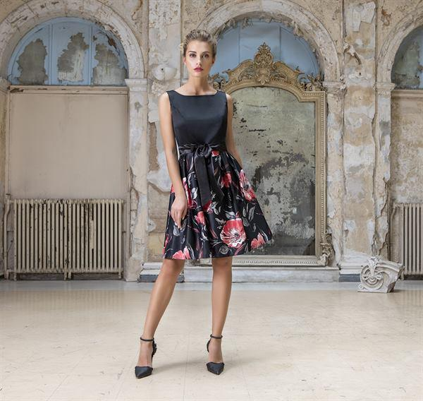 Black floral formal dress