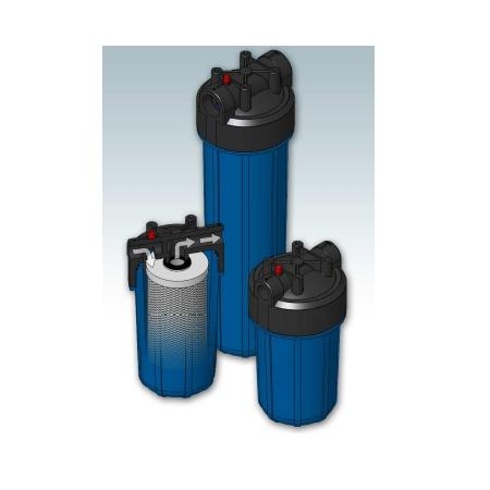 Plastic Filter Housings in Polypropylene and SAN, clear or blue sump for industrial/commercial use.