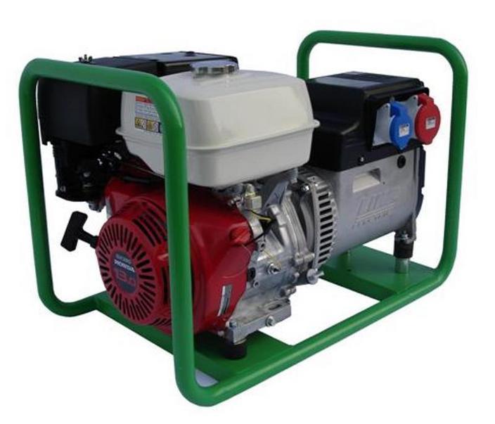 GRUPPO ELETTROGENO A BENZINA CON MOTORE HONDA, 7 KVA (5,6 KW) 400/230V TRIFASE, AVVIAMENTO A STRAPPO CON CORDA AUTOAVVOLGENTE. MADE IN ITALY.