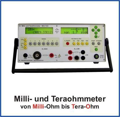 Präzisions-Widerstandsmessgerät und Amperemeter zur Messung von Volumen-, Oberflächen- und Ableitwiderständen und kleinen Strömen. Widerstandsmessereich von 10 µOhm Auflösung bis 1,6 PetaOhm.