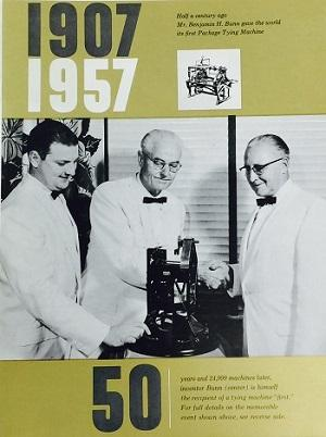 Mr. Bunn being presented with the World's First 1/3 Scale Bunn Tying Machine and industry's First.