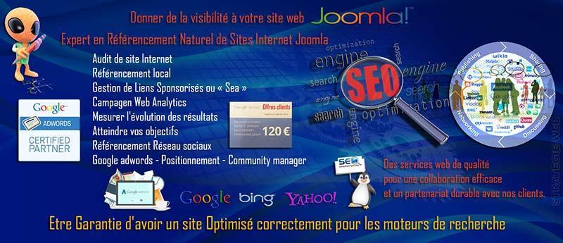 Notre agence web Strategie-web est également  Expert en Référencement de site Joomla  & SEO, SEM, SMO