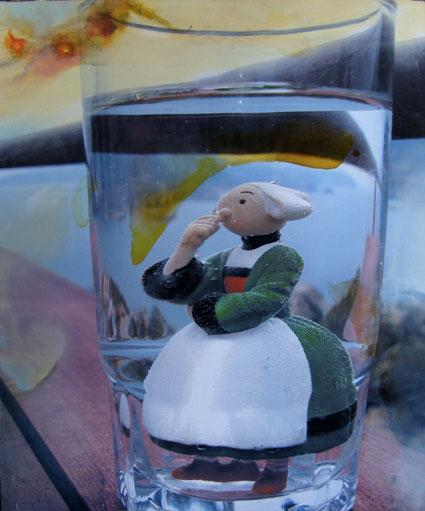 Bécassine dans un verre - peinture à l'huile sur impression numérique
