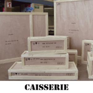 Confection de caisses en bois, contreplaqué et dérivés du bois, caisses réutilisables et caisses perdues, caisses pliantes et à clips.