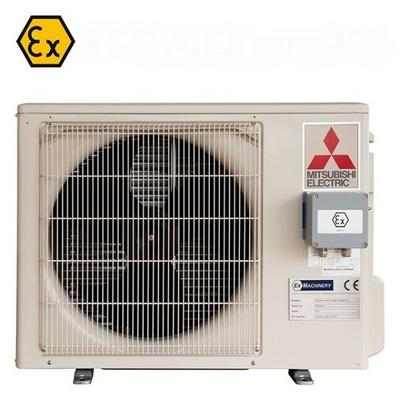 ATEX certified modification of a Mitsubishi Electric outdoor unit air conditioner. Suitable for zone 2 and 22 hazardous areas.