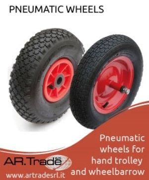 Wheels with plastic or metal rim, pneumatic tyre composed by tube and tyre. Ask for more informations: www.artradesrl.it