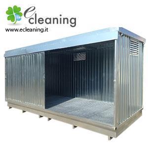 Container in lamiera dotati di vasca interna di raccolta per lo stoccaggio di fusti, cisternette e contenitori vari. Possono essere forniti di scaffalatura e culle per posizionare fusti in orizzontale