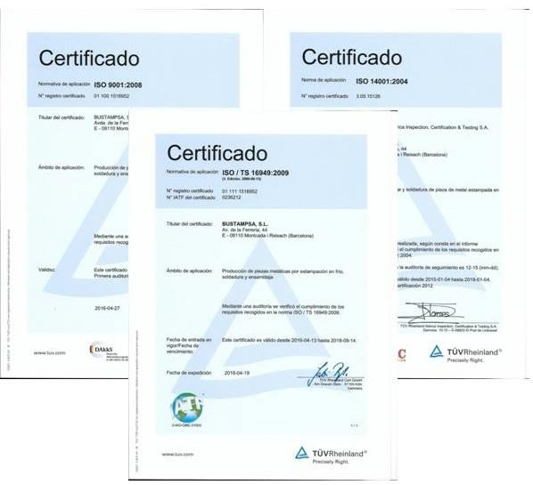 3 Certificados de Calidad: ISO/TS 16949:2009 , ISO 9001:2008, ISO 14001:2004