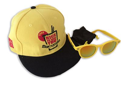 OEM set : flat visor Hat with custom colors and embroidery logo and sunglasses with custom lens mirror color and logos