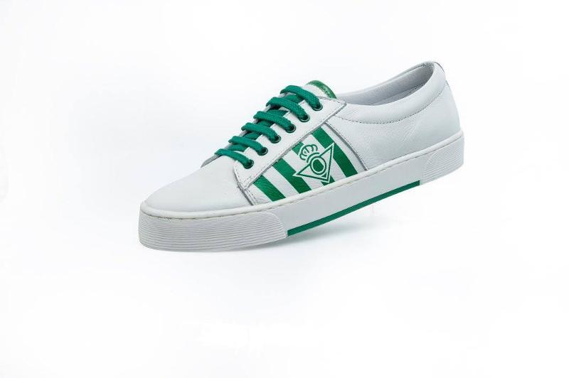 Calzado deportivo del Real Betis Balompié. Todo en piel y con la autorización del Real Betis.