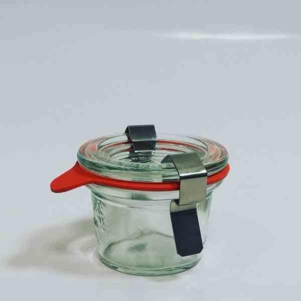 bocales en vidrio Weck® con tapas en vidrio y clips de cierre en inox.