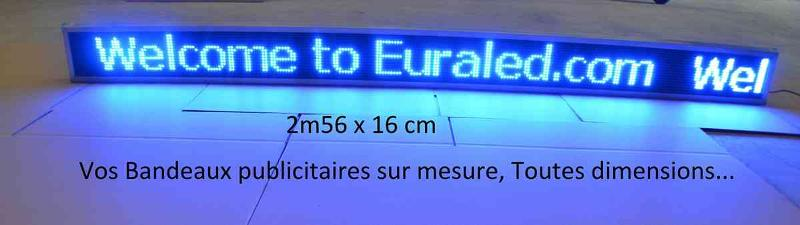 Blue led display panel with aluminium frame. Sizes 256 x 16 pixels (Ext.260 x 20cm) - 4 096 leds - All sizes possible...
