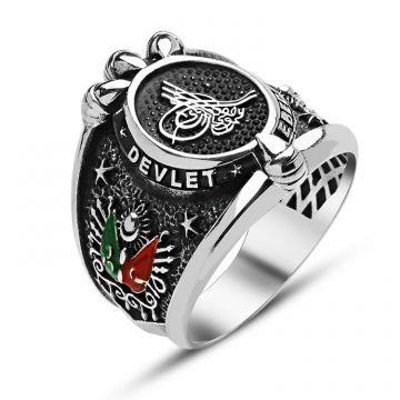 Devlet Ebed Müddet Yazılı Tuğralı Gümüş Yüzük  925 Ayar Gümüş Ağırlığı 17-15 gr.