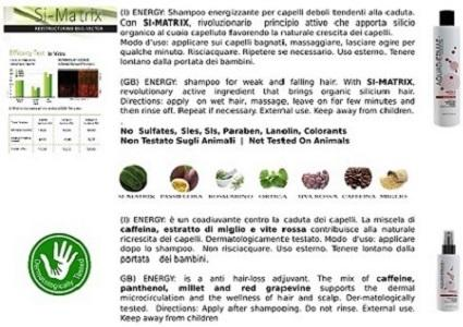 shampoo for weak and falling hair. With SI-MATRIX, revolutionary active ingredient that brings organic silicium hair.Directions: apply  on wet hair, massage, leave on for few minutes and then rinse