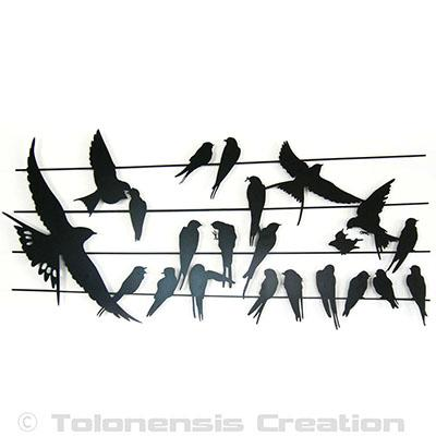 Wall ornament Birdy çà cm - Steel laser cut - Powder coating paint - Unique and original decoration - Design Jacques Lahitte © Tolonensis Creation