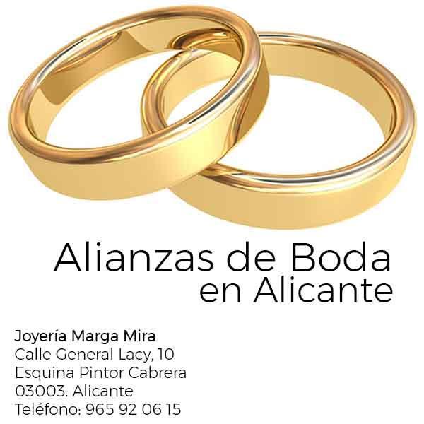 Si buscas donde comprar alianzas de boda en alicante al mejor precio. Visita Marga Mira Joyeros en Alicante centro. Joyeros en Alicante desde 1979.Descubre alianzas de oro blanco, oro amarillo o rosa.