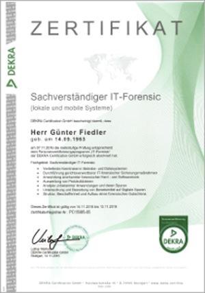 Sachverständiger IT Forensic (lokale und mobile Systeme)