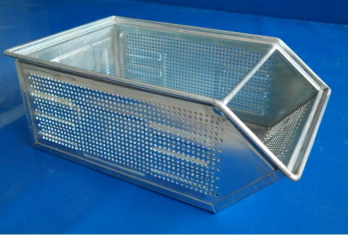 Perforated semi-open front sheet steel storage boxes and containers