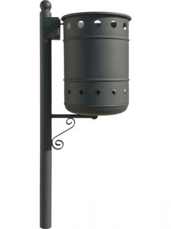 Papelera urbana metálica para suelo, pared o farola. 40 L. Se vacía mediante vuelco, con llave.