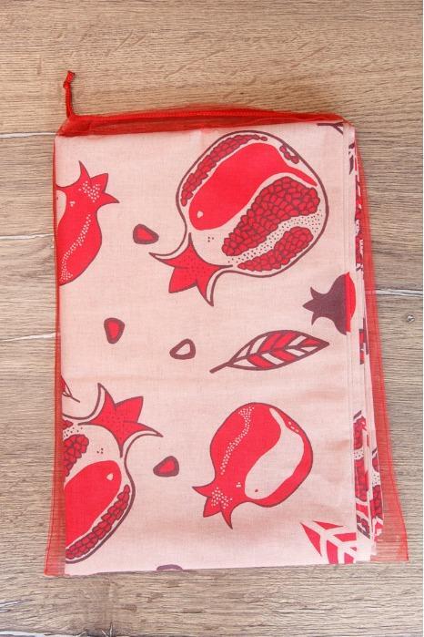 Linen tablecloth garnets in a storage bag