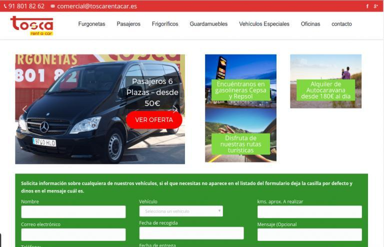 Diseño de sitio web de alquiler de vehículos realizado para Tosca Rent a car. http://toscarentacar.es/