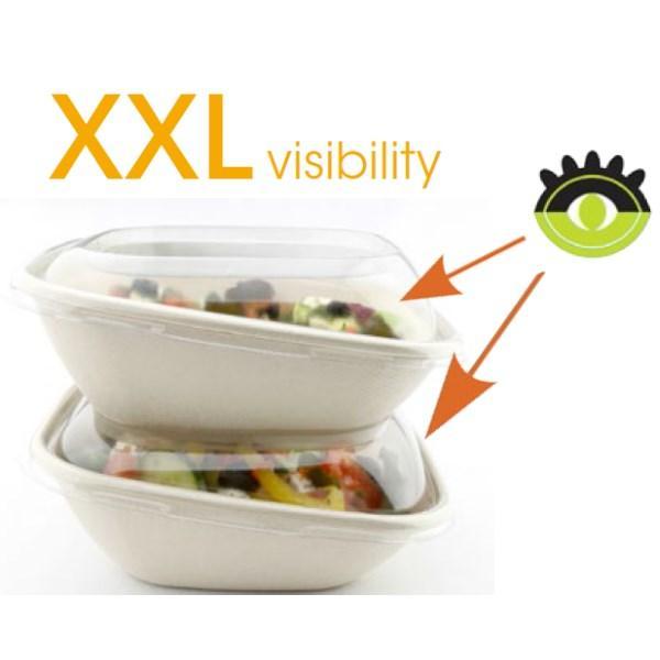 Boite salade bio avec couvercle biseau pour une grande visibilité dans la présentation. 100% compostable, reponds aux normes Europe sur les emballages bio.