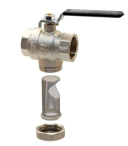 Full flow ball valve f.f. with built-in filter
