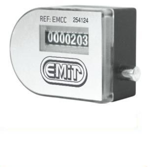 Contador de impulsos mecánico para útiles de producción (matrices, émbolos, muelles, puertas de cajas fuertes... etc.). Cada contador lleva una placa numerada