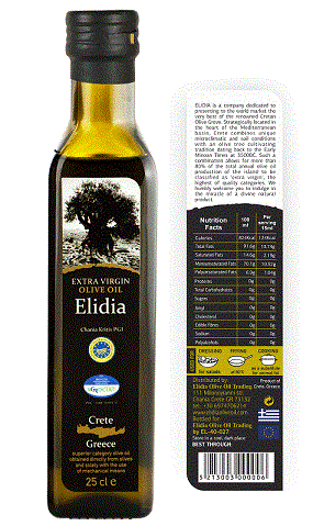 Extra virgin olive oil of very low acidity with a PGI (Protected Geographical Indication) stamp of quality. Originating from Crete, the most traditional olive oil producing area in Greece.
