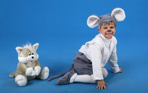 Fleece carnival costume Mouse (Height 128 cm)
